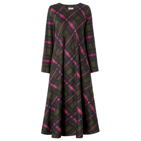 Sahara Plaid Jersey Flared Dress - Multicoloured