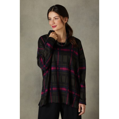 Sahara Plaid Jersey Cowl Neck Top - Multicoloured