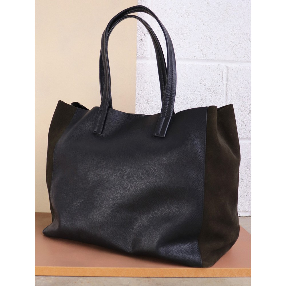 Hill & How Large Leather Tote Black / Olive