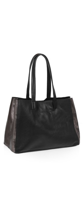 Hill & How Large Leather Tote Black / Pewter