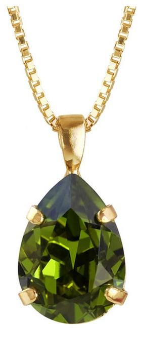 Caroline Svedbom Mini Drop Necklace  Olivine / Gold