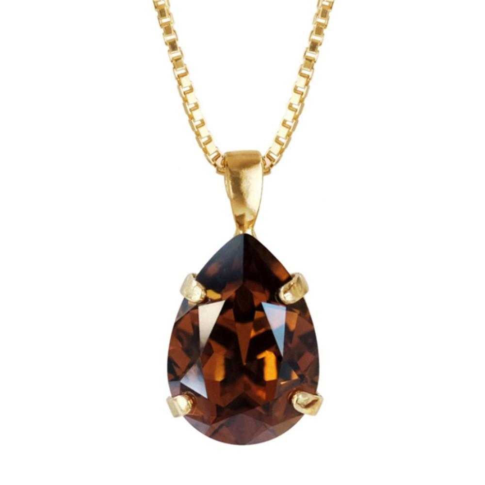 Caroline Svedbom Mini Drop Necklace  Smoked Topaz / Gold