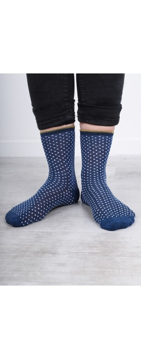 BeckSondergaard Dina Small Dots Socks Twilight Blue