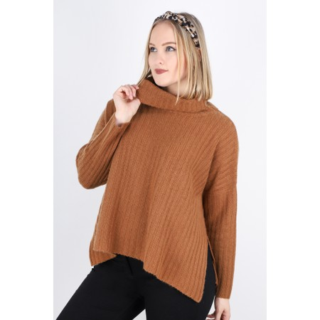 Gemini Label  Ribbed Polo Neck Cashmere Jumper - Brown