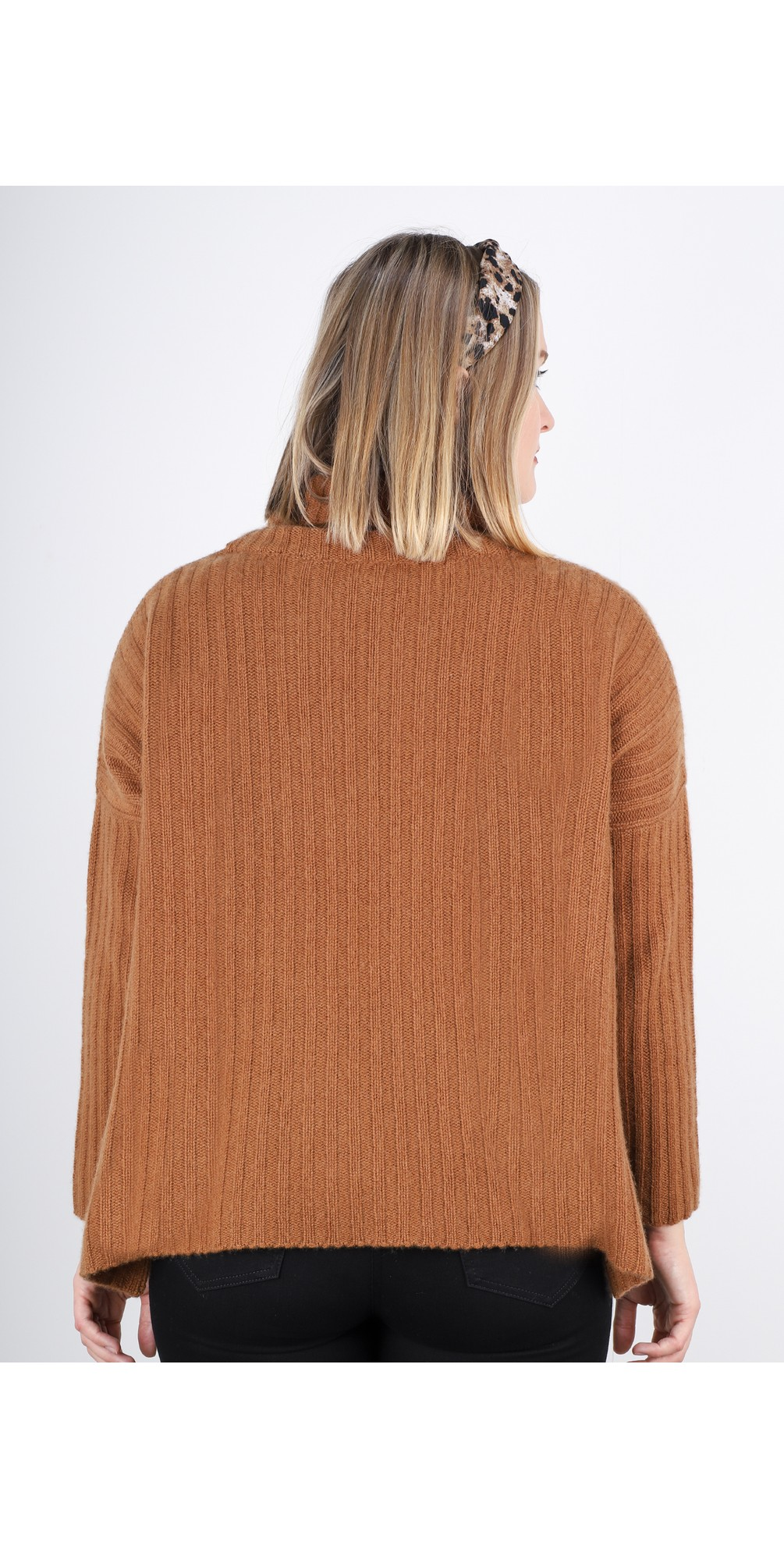 Ribbed Polo Neck Cashmere Jumper main image