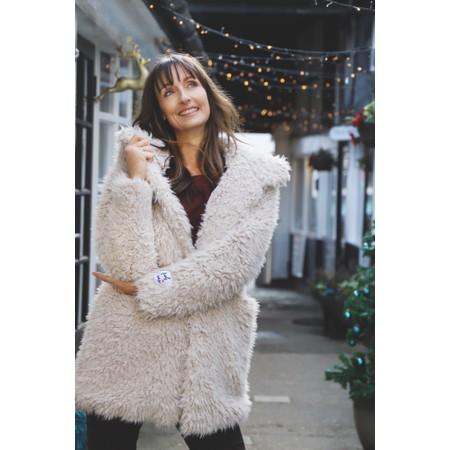 RINO AND PELLE Welda Shaggy Faux Fur Jacket - Beige
