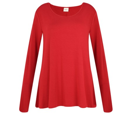 BY BASICS Heidi A-Shape Round Neck Bamboo Jersey Top - Red