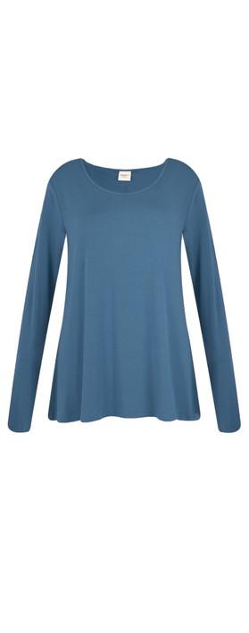 BY BASICS Heidi A-Shape Round Neck Bamboo Jersey Top Denim Blue 73