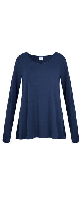 BY BASICS Heidi A-Shape Round Neck Bamboo Jersey Top Navy Blue 72