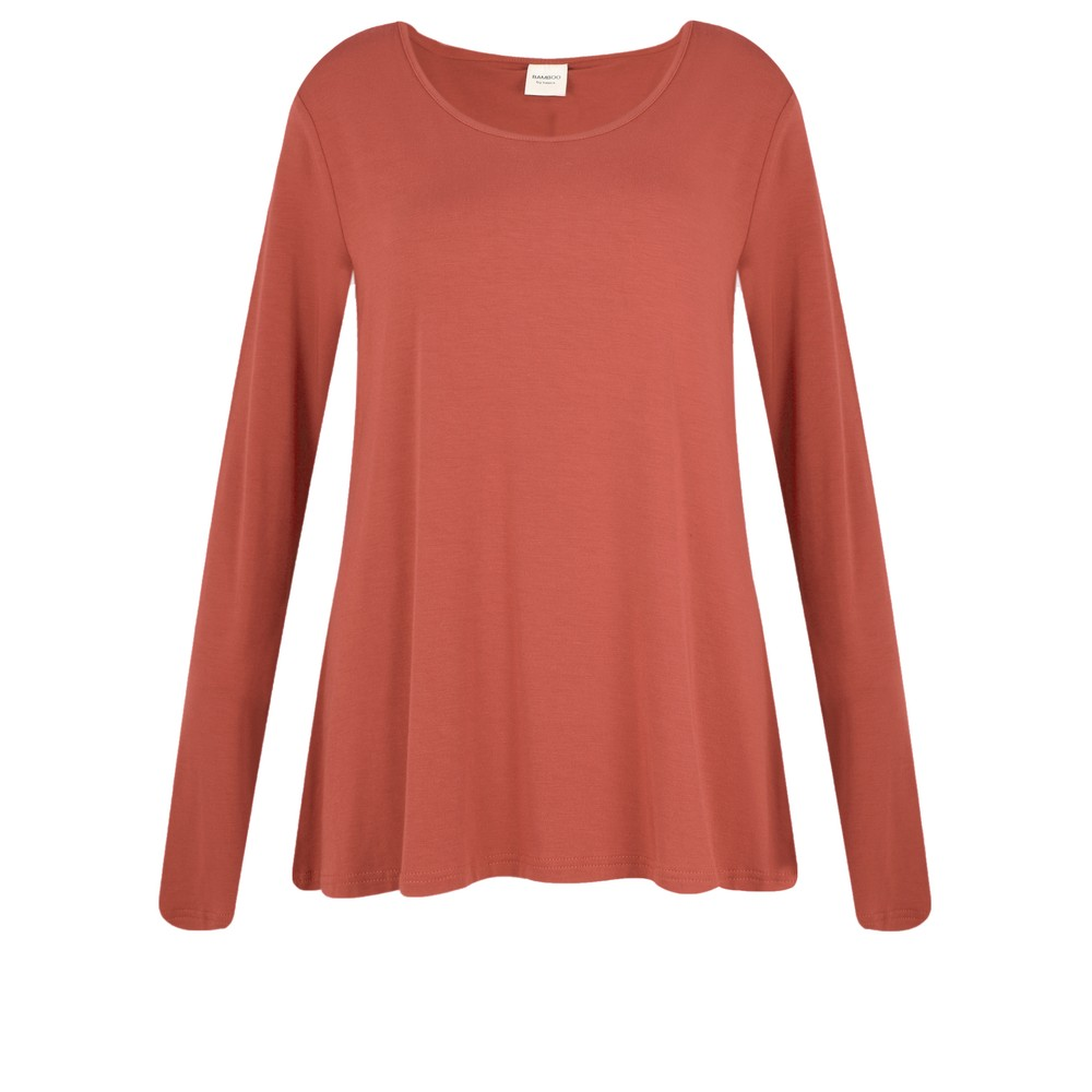 BY BASICS Heidi A-Shape Round Neck Bamboo Jersey Top Terracotta 66