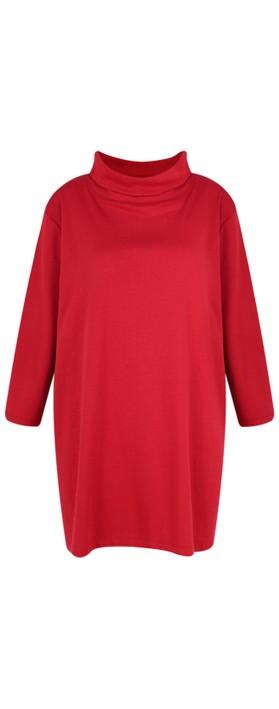 BY BASICS Clara Easyfit Organic Cotton Roll Neck Top Brick Red 301
