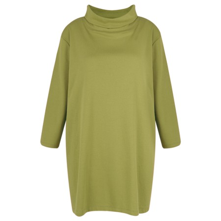 BY BASICS Clara Easyfit Organic Cotton Roll Neck Top - Green