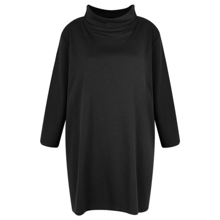 BY BASICS Clara Easyfit Organic Cotton Roll Neck Top - Black