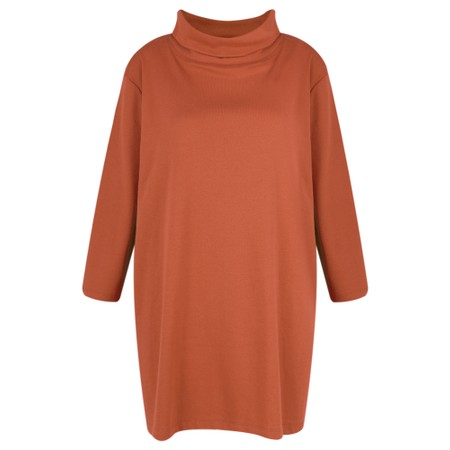 BY BASICS Clara Easyfit Organic Cotton Roll Neck Top - Orange