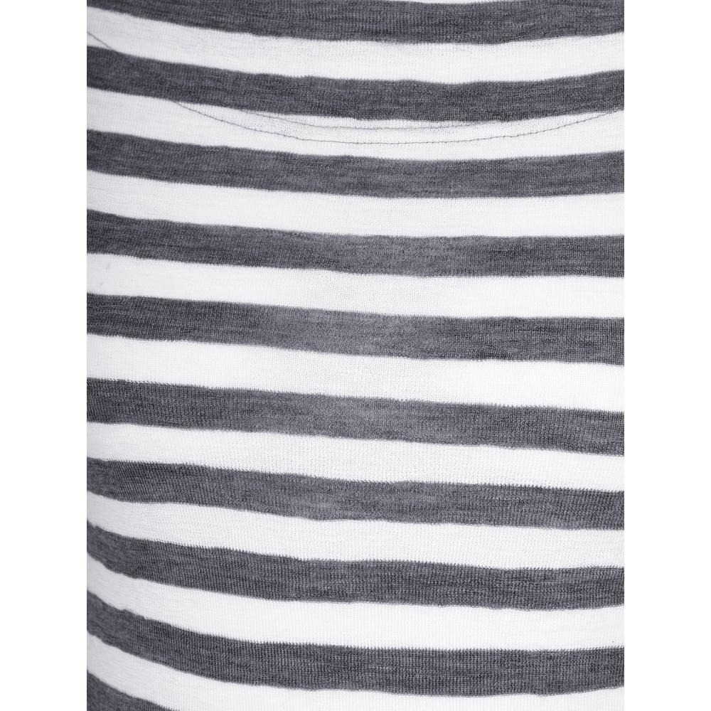 BY BASICS Mette Three Quarter Sleeve Blusbar Merino Top Raw White / Navy B/O/72