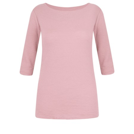 BY BASICS Mette Three Quarter Sleeve Blusbar Merino Top - Pink