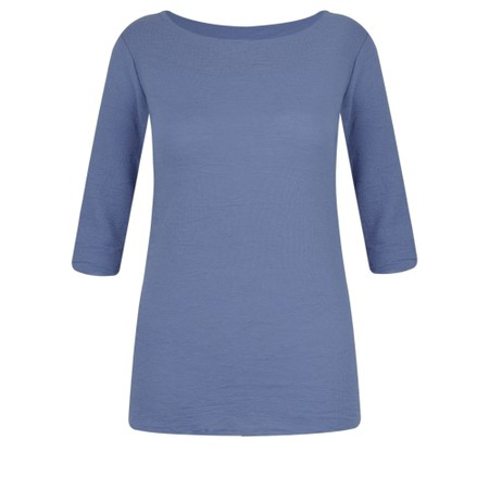 BY BASICS Mette Three Quarter Sleeve Blusbar Merino Top - Blue