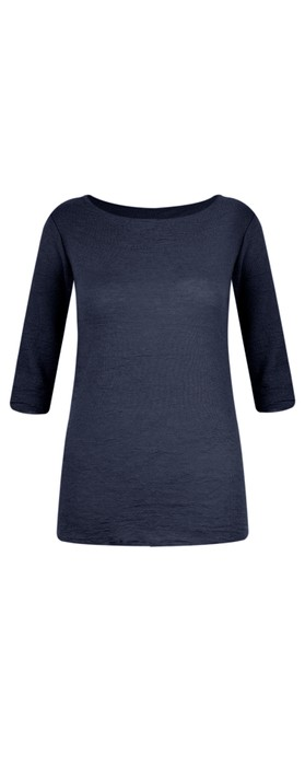 BY BASICS Mette Three Quarter Sleeve Blusbar Merino Top Navy Blue 72