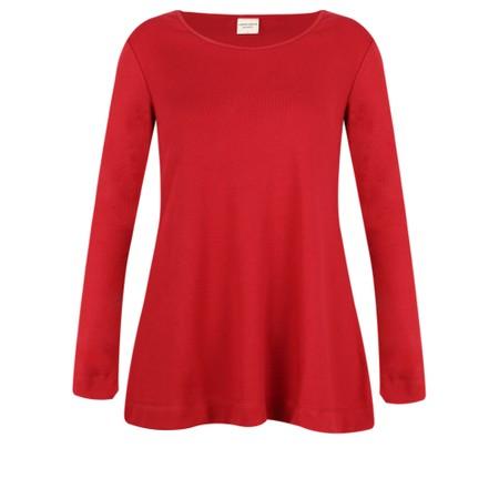 BY BASICS Anya Round Neck Organic Cotton Top - Red