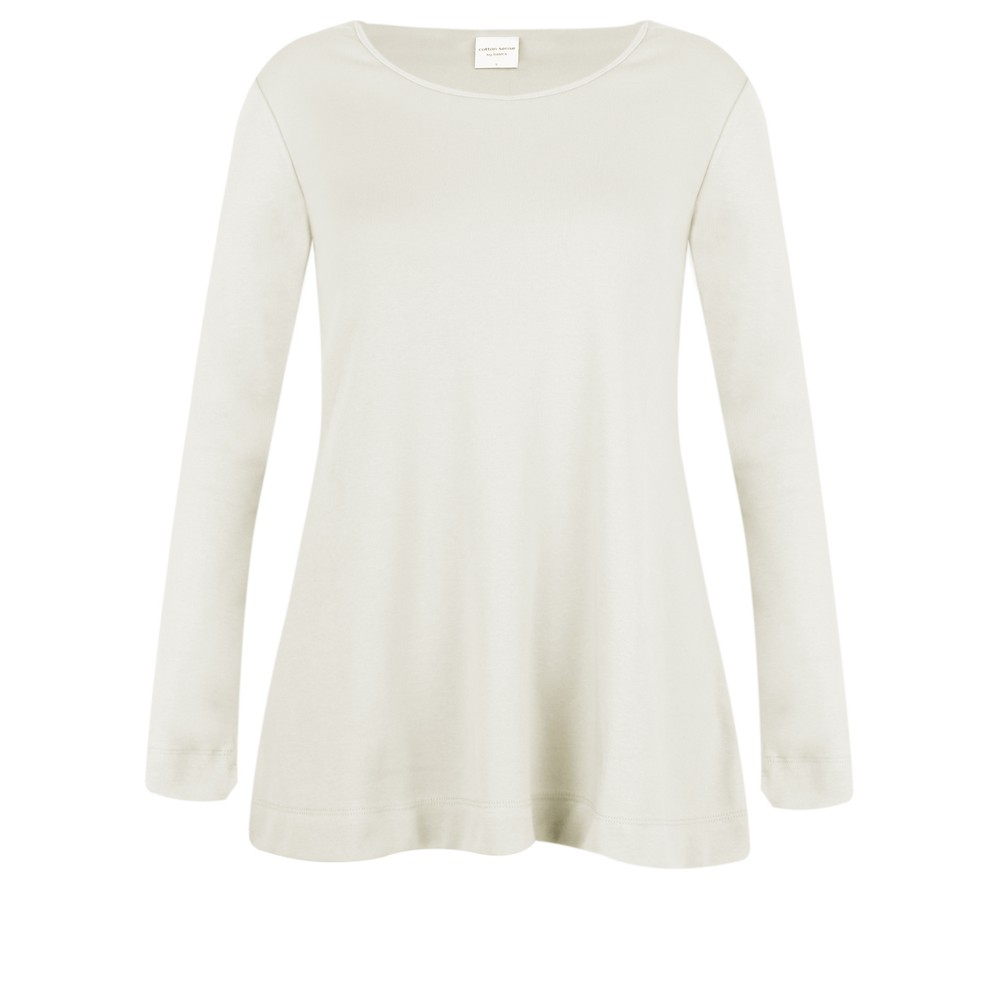 BY BASICS Anya Round Neck Organic Cotton Top Off White 0