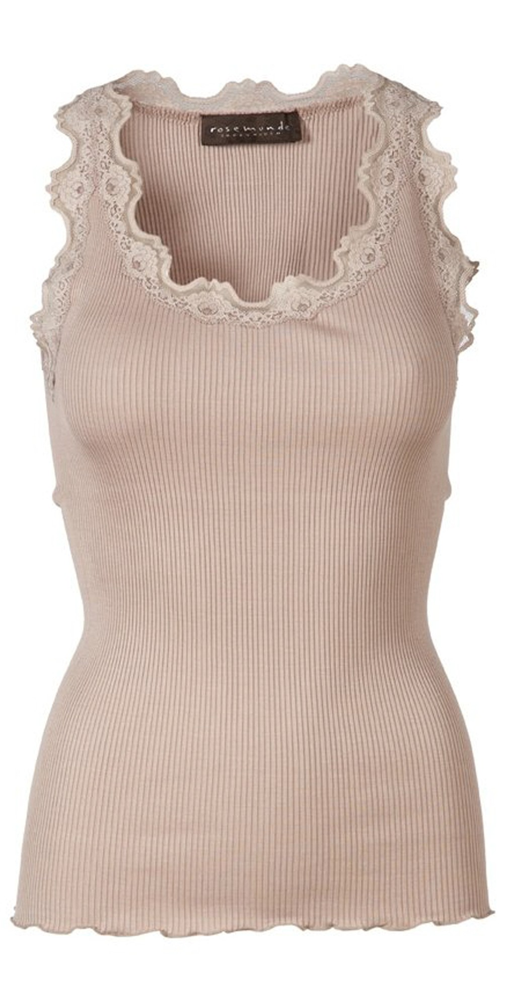 Babette Rib Silk Lace Trim Fitted Top main image