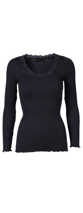 Rosemunde Babette Rib Silk and Lace Trim Fitted Long Sleeve Top 135-Navy