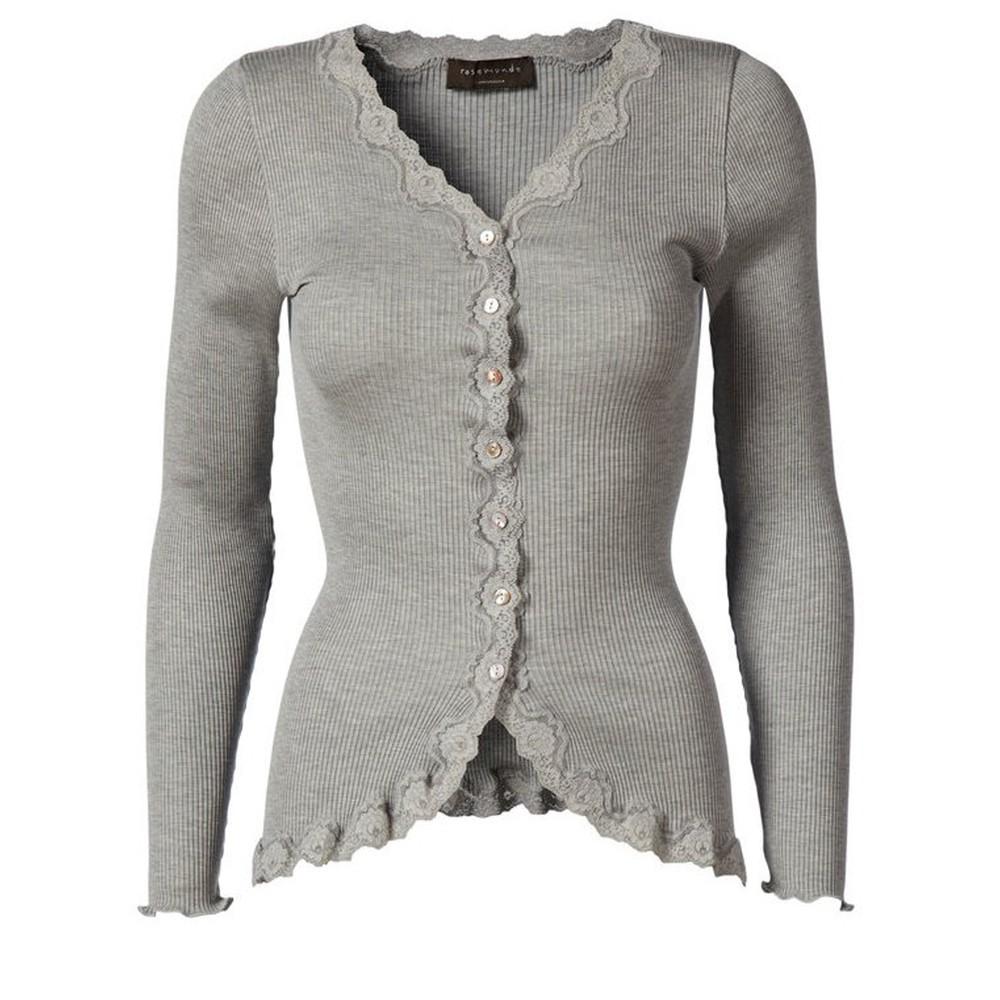 Rosemunde Babette Rib Silk and Lace Trim Fitted Cardigan 008-Light Grey Melange
