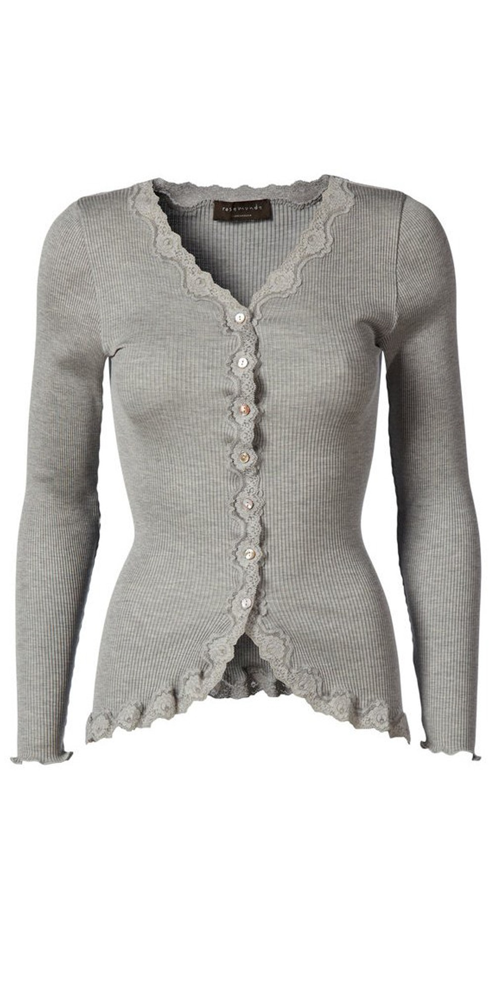 Babette Rib Silk and Lace Trim Fitted Cardigan main image