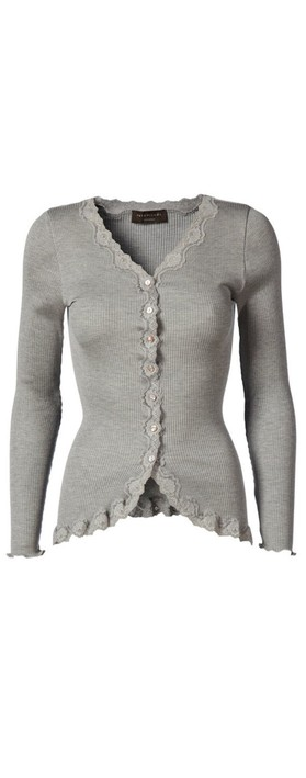 Rosemunde Babette Rib Silk and Lace Trim Fitted Cardigan 008-Light Grey Melange