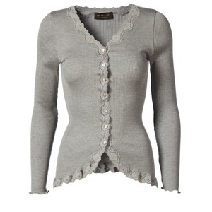Rosemunde Babette Rib Silk and Lace Trim Fitted Cardigan