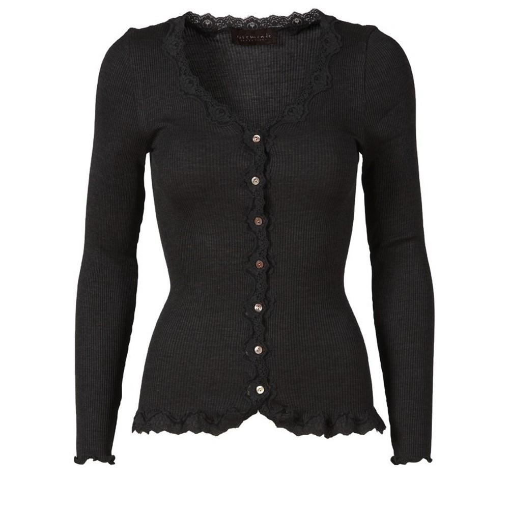 Rosemunde Babette Rib Silk and Lace Trim Fitted Cardigan 010-Black