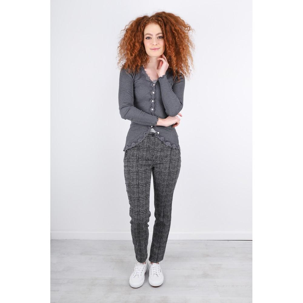 Robell Holly Smart Check Full Length Black/White Trouser Black / White