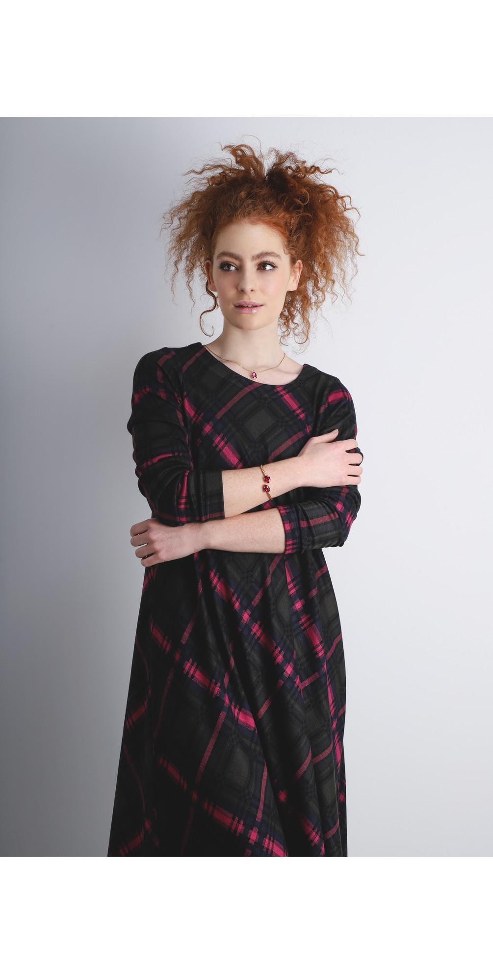 Plaid Jersey Flared Dress main image