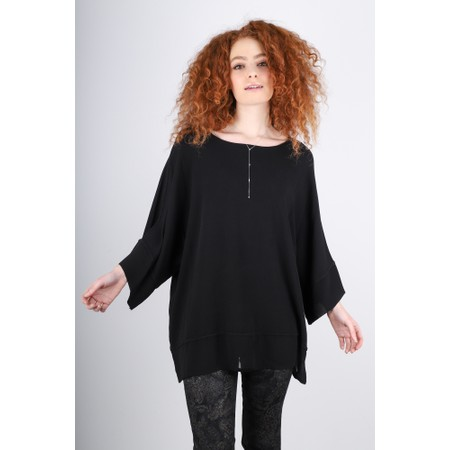 Sahara Autumn Crepe Boxy Top - Black