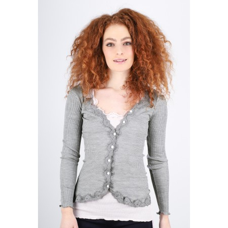 Rosemunde Babette Rib Silk and Lace Trim Fitted Cardigan - Grey