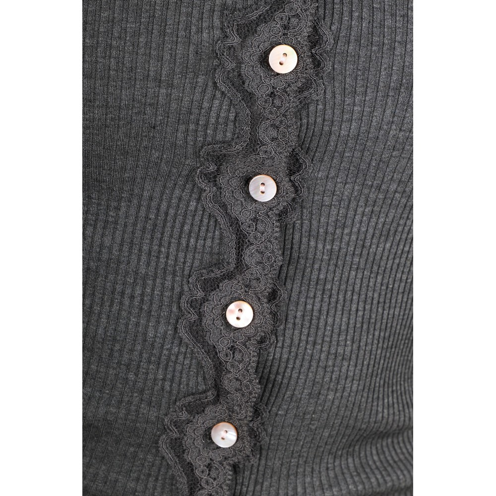 Rosemunde Babette Rib Silk and Lace Trim Fitted Cardigan 009-Dark Grey Melange