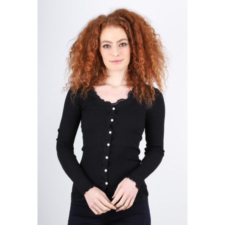 Rosemunde Babette Rib Silk and Lace Trim Fitted Cardigan - Black