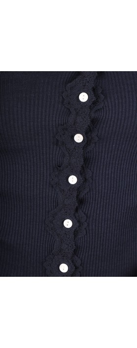 Rosemunde Babette Rib Silk and Lace Trim Fitted Cardigan 135-Navy