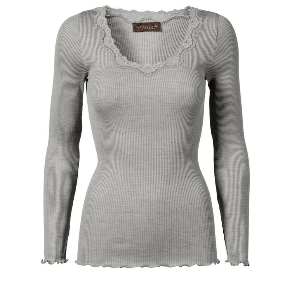 Rosemunde Babette Rib Silk and Lace Trim Fitted Long Sleeve Top 008-Light Grey Melange