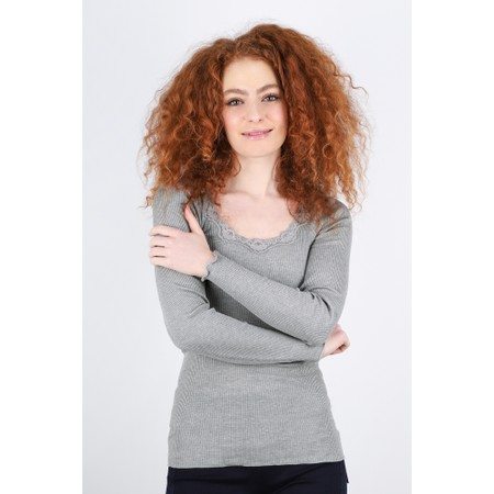 Rosemunde Babette Rib Silk and Lace Trim Fitted Long Sleeve Top - Grey