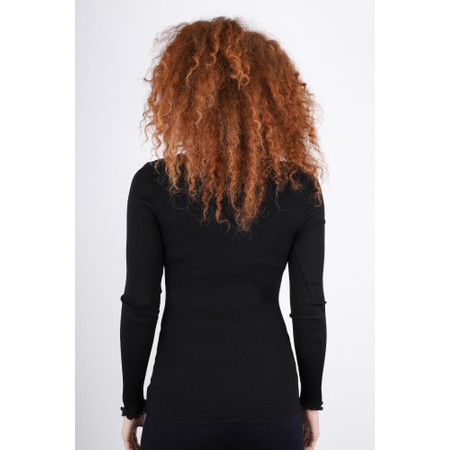 Rosemunde Babette Rib Silk and Lace Trim Fitted Long Sleeve Top - Black