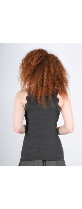 Rosemunde Babette Rib Silk Lace Trim Fitted Top 009-Dark Grey Melange