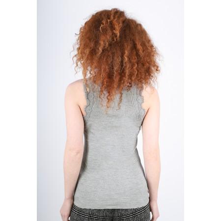 Rosemunde Babette Rib Silk Lace Trim Fitted Top - Grey