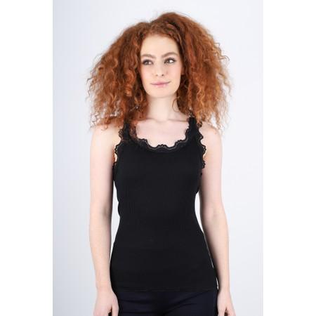 Rosemunde Babette Rib Silk Lace Trim Fitted Top - Black
