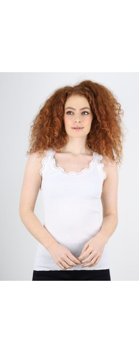Rosemunde Babette Rib Silk Lace Trim Fitted Top 1049-New White