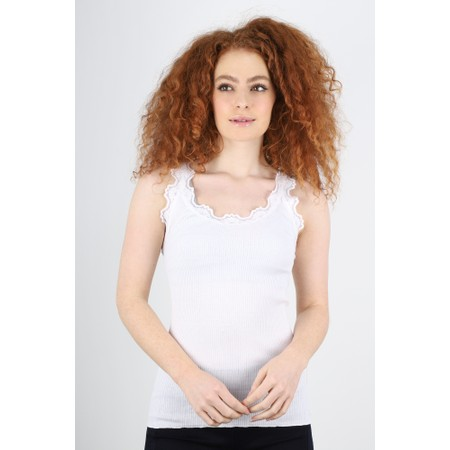 Rosemunde Babette Rib Silk Lace Trim Fitted Top - White