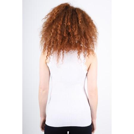 Rosemunde Babette Rib Silk Lace Trim Fitted Top - White