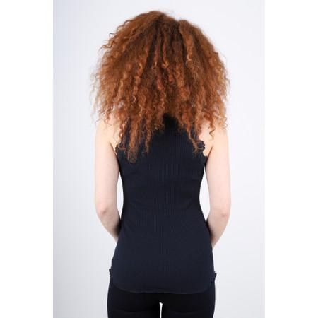 Rosemunde Babette Rib Silk Lace Trim Fitted Top - Blue