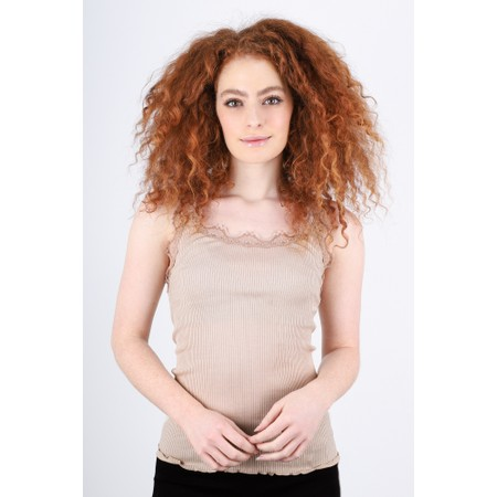 Rosemunde Babette Rib Silk Lace Trim Fitted Top - Brown
