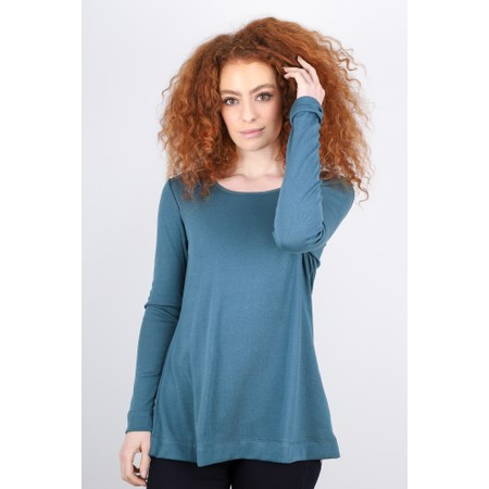 BY BASICS Anya Round Neck Organic Cotton Top - Blue